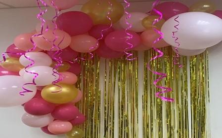 arcos de globos rosados